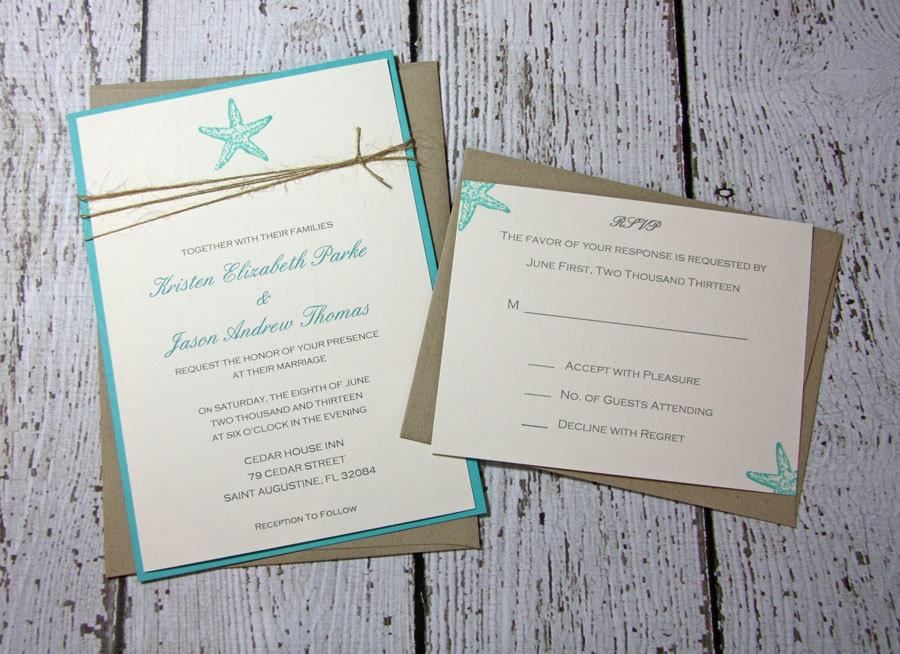 teal starfish wedding invitations beach wedding