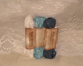 Scrunched Seam Binding ribbon, Crinkled Seam Binding Package  Cream Tourquoise ECS