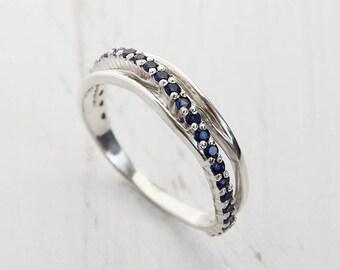 Blue wedding ring, Sapphire wedding ring, Sapphire wedding band, Eternity wedding ring, Eternity wedding band, Eternity band silver