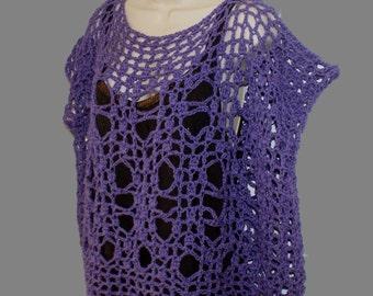 Purple Cotton Shirt, Crochet Top, Plus Size Shirt, Dolman Top, Layered Look Tee, Womans Blouse, Grunge Top, Purple Mesh Tee, Plus Tunic