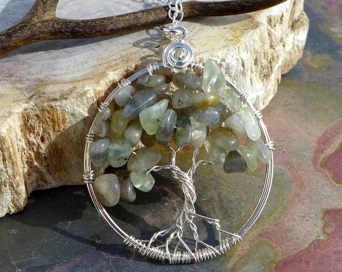 Labradorite Tree of life Necklace, Green Prehnite Tree of Life Pendant -Wire Wrapped Tree of Life- Labradorite Gemstone Necklace