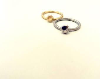 Tanzanite crystal ring set, Mushroom gold ring set, Rhodium and 14k gold rings, Gold stacking rings, Tanzanite ring set, Tanzanite jewelry