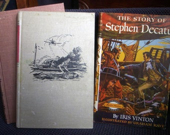 Three Signature and We Were There Books, Vintage Homeschool History, Stephen Decatur, Pearl Harbor, Kit Carson