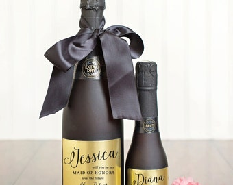 Will You Be My Bridesmaid Champagne Labels \\ Mini or Regular Size