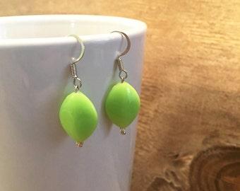 Neon Green Earrings - Bright Green Earrings - Neon Green Bridesmaid Jewelry - Summer Earrings - Green Earrings - Bright Green Earrings