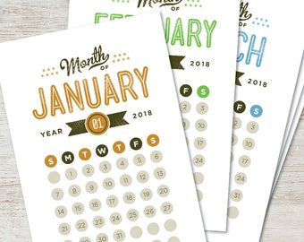 GO GETTER Printable Desk Calendar 2018 2019 Digital Instant Download Modern Retro Vintage Typography Monthly Planner DIY