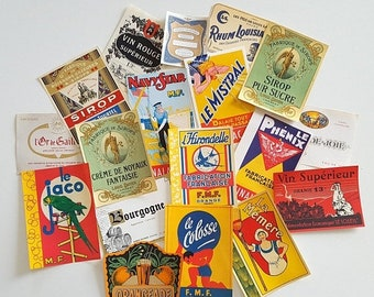 SALE Set of 18 vintage French advertising labels on paper.  Never used. No reprint. Not digital downupload !
