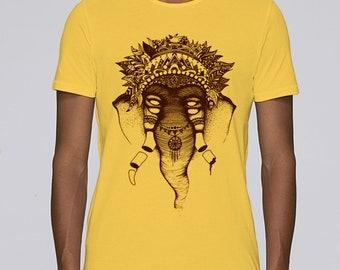 Hand Screenprinted T-shirt / Elephant / Yellow
