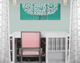 Teal and Pink Girl's Room Canvas Wall Art Decor, Tree Painting Triptych with Sculpted Flowers - 35x14