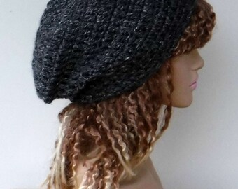 Slouchy beanie, black tweed hemp wool hat, slouch beanie hat, woman man hippie tam hat handmade in crochet