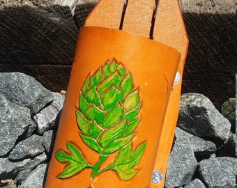 Hand tooled leather beer holster