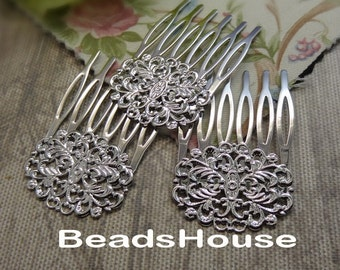 4pcs-(35 x 50mm) Silver Plated  Filigree hair combs, Nickel Free