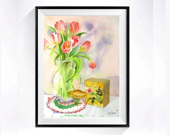 Floral original watercolor painting -  Floral bouquet painting, Original watercolour flower bouquet, Tulips, Flowers illustration watercolor