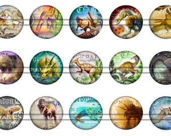 Steampunk Dinosaur Flatbacks, Vintage Dinosaur Pins, Dinosaur Magnets, Dinosaur Badges, Dinosaur Party Favors, 12ct. Set D