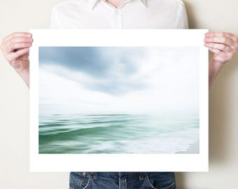 Ocean photography print. Florida seascape fine art photograph, beach artwork. Emerald Coast, coastal decor. Seaside wall art, large format