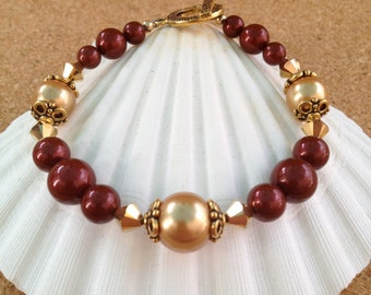 GARNET and GOLD Swarovski Crystal Pearl Bracelet - Save 15 on Set - Florida State Seminoles - Noles - Any Size - Made in USA