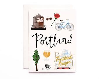 Portland Card, Illustrated Portland Greeting Card, Portland Oregon Gift