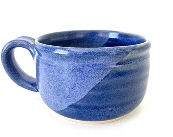 Stoneware Pottery Mug. Cobalt Blue. Blue Speckled. Delft Blue. Denim. Indigo. Coffee, Tea, Cocoa. 12 oz. Hand Thrown.