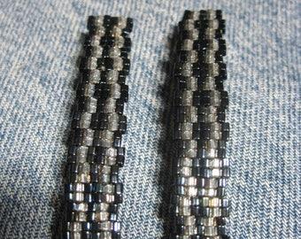 Crystal & Blue Metallic Iris Toho 1.5 mm CUBE Beaded Stripe Barrettes....set of 2 Medium Size....hand made OOAK Original Design #947h
