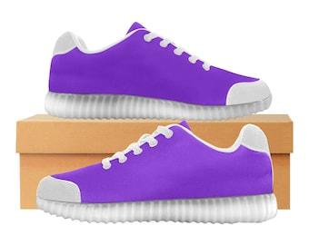 Purple Rain | LED Light Up chaussures | Hommes & femmes tailles | Tige extensible haute | Semelle intérieure en tissu | Recharger | Choisissez noir ou blanc garniture