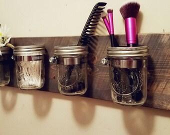 Rustic Home Decor, Mason jar Bathroom Organizer, Mason jar organizer, Bath set, Mason jar decor , Rustic organizer, Bathroom set