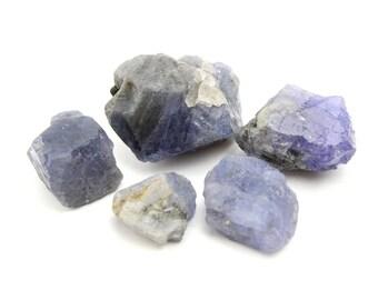 40% Off 5 Piece Tanzanite Parcel, Wholesale / Bulk (25 grams, Tanzania) Natural Raw / Rough Crystal Specimens, Unheated #TANZ5