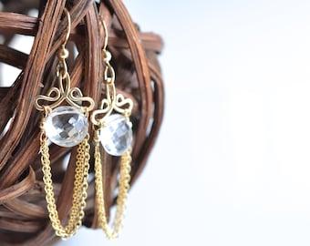Talia - Crystal Quartz 14k Gold Filled Earrings