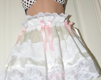 Sumptuous creamy soft skirted panties in cream colour with white lace, slithering sensual satin - Sissy Lingerie