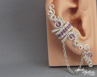 amethyst ear cuff 'Circe' - wire wrapped ear cuff with chain, amethyst jewelry, elegant jewelry, birthday gift for her, February birthstone