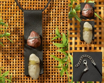 Pendant Necklace of Leather, Stone, Wire + Washers