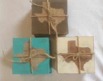 E004 Hard Wood Texas Coasters One Set of Four in Brown, White or Turquoise
