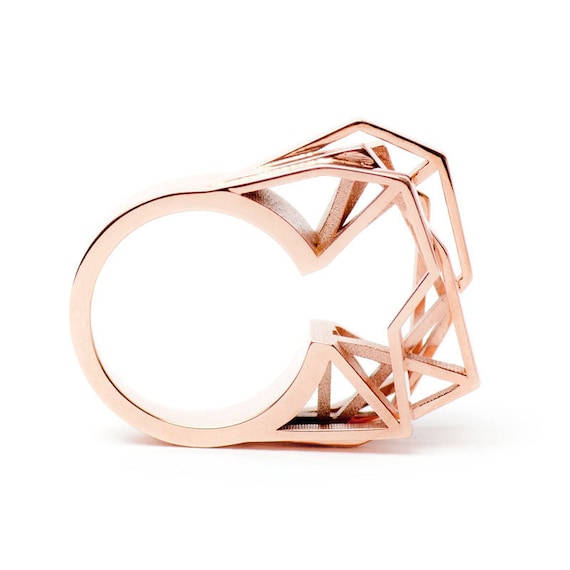 functy printed irregular ring rings sine