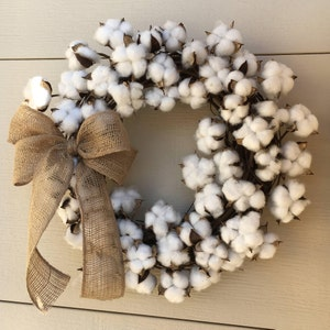 "18"" Cotton wreath,Cotton boll wreath,Farmhouse wreath,Natural wreath,Farm style wreath,Country wreath,Rustic wreath,Cotton decor,Country"