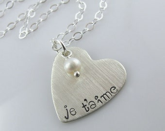 "Je t'aime Heart Necklace - 7/8"" Hand Stamped Sterling Silver Heart, White Fresh Water Pearl"