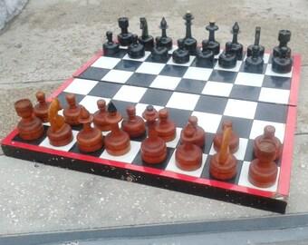 Super big old soviet wooden chess set, vintage antique chess ussr