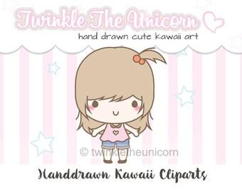 CUTE GIRL CLIPART - High quality png clipart - kawaii clip art - cute clip art - instant download- kawaii clipart