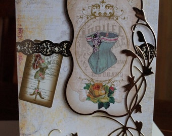 Antique style Courture themed Greetings Card