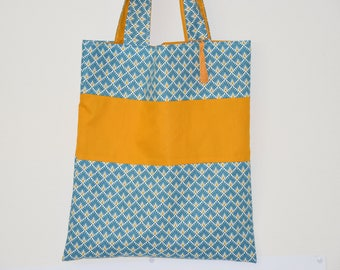 Tote bag - double - geometric / uni - mustard, Teal and white tones / 00605