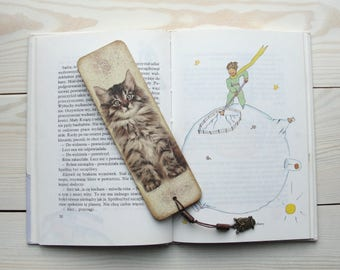 Cat bookmark Wooden bookmark Bookworm Animal bookmark Gift for reader Bookworm gifts Pets bookmark Unique bookmark Bookish Original bookmark