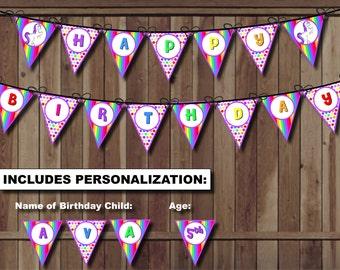 Unicorn Party Birthday Banner, Rainbow Party Banner, Rainbow Unicorn Birthday Pennant Banner - PRINTABLE Girl Theme Stripes Polka Dots