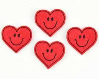 SMILEY HEART - Embroidered Felt Embellishments / Appliques - Red & Black  (Qnty of 4) SCF4025