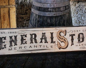 Rustic General Store Mercantile Wood Sign - Hand Crafted Antique Wooden Decor