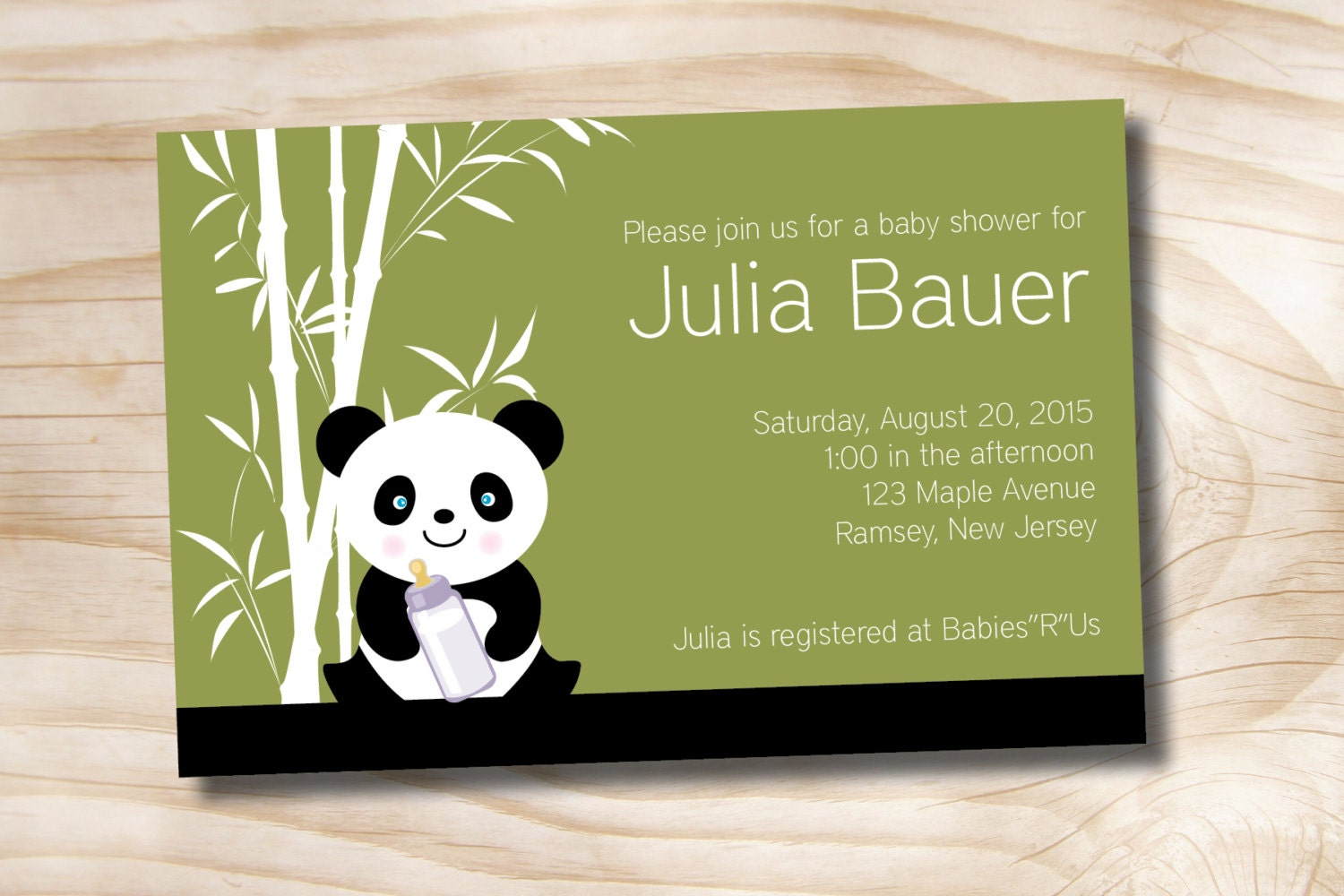 BAMBOO PANDA Baby Shower Invitation Printable Digital file