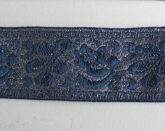 Silver background with flowers-blue ref B4 lurex woven Ribbon