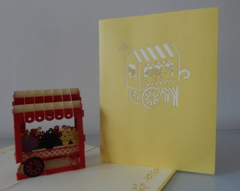 Flower Cart Pop up Card Mother's Day-  Get Well- Anniversary- Birthday- Thank You- Blank (sku106)