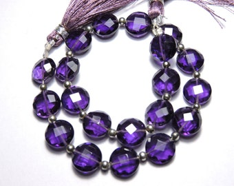 20 Pcs Very Beautiful Purple Amethyst Quartz Faceted Coin Shaped Beads Size 10X10 MM