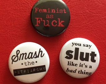 """feminist as f,  1"""" button set of 3"""