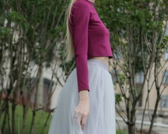 """Tulle skirt with matching lining, fixed waistband with hidden zipper (color 22 """"Steel"""")"""
