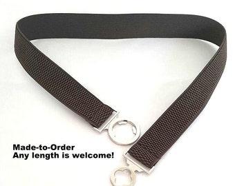 Brown Elastic Belt, Elastic waist belt, elastic belt, Plus-sized Waist belt, Plus size Waist belt - Color: Brown