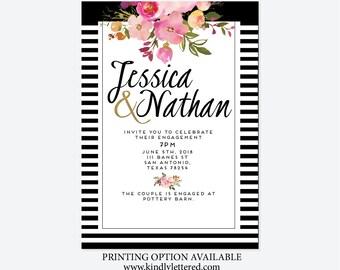 Engagement Invitations-Digital-watercolor flower invites-Floral Bridal Shower Invite-5x7-digital file-Couple  Invite